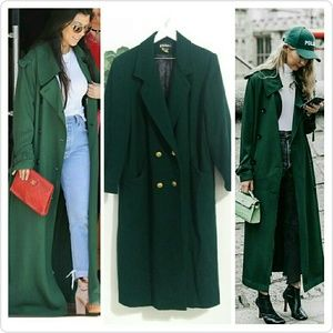 Vintage Karizma Emerald Green Wool Trench Coat